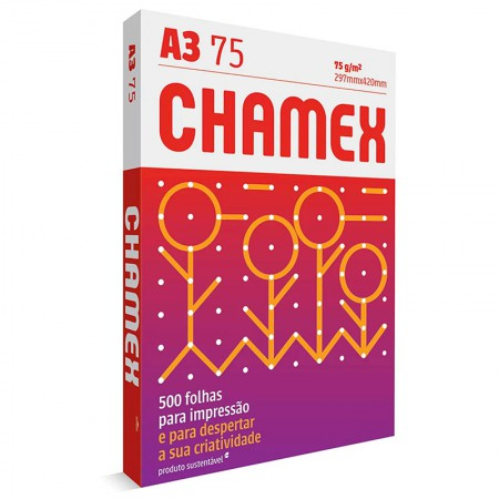 Papel sulfite A3 75g - 297x420 - com 500 folhas - Multi - Chamex