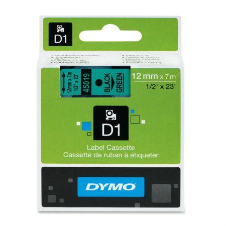 Fita para rotulador verde com escrita preta 12mm - 45019 - Dymo