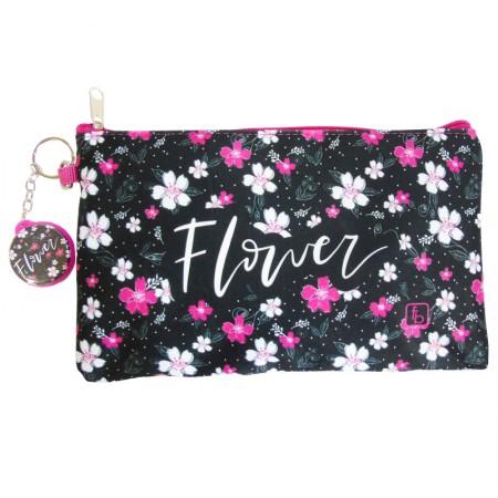 Estojo escolar especial com ziper - 10-6030/20 - Envelope Flower Black - Franesb