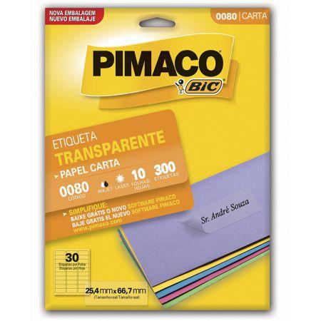Etiqueta transparente 0080 - com 10 folhas - Pimaco