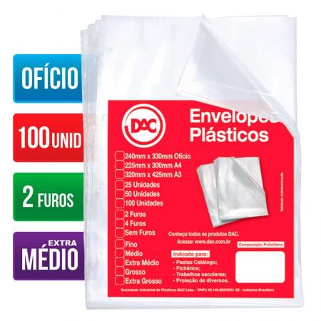 Envelope plástico ofício 0.12 - 2 furos - 5179 - pacote com 100 unidades - Dac