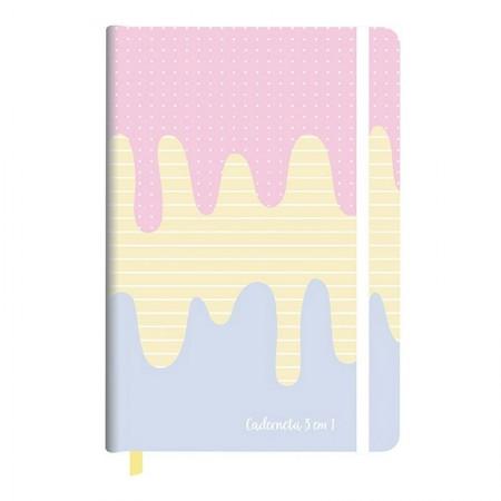 Caderneta capa dura 3 em 1 Fitto Candy - 192 folhas - Redoma