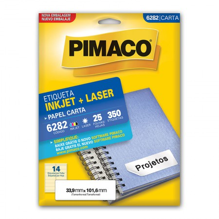 Etiqueta inkjet/laser carta 6282 - com 25 folhas - Pimaco