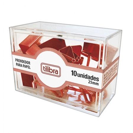 Prendedor de papel 25mm Ouro Rose com 10 unidades - 276634 - Tilibra