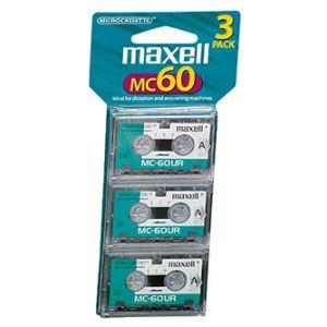 Fita áudio micro K-7 60 minutos - com 3 peças - MC-60 - Maxell