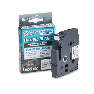 Fita para rotulador 12mm laminada flexível - TZEFX231 - preto escrita em branco - Brother