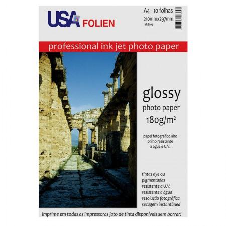 Papel fotográfico glossy paper A4 180g - 8309 - com 10 folhas - Usa Folien