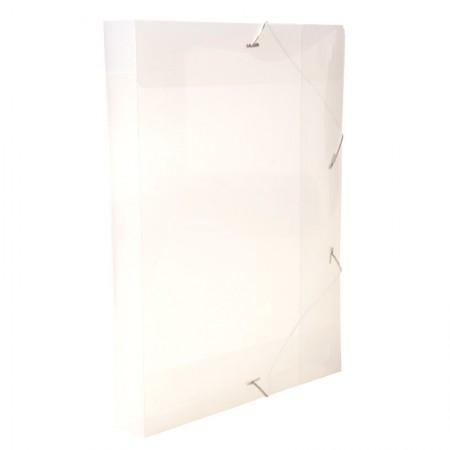 Pasta com aba elástico ofício lombo 40mm - transparente cristal - 0257.H - Dello