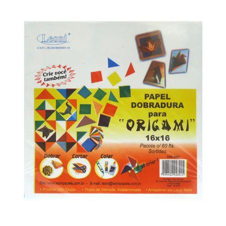 Papel origami 16x16 - com 60 folhas - Leoni