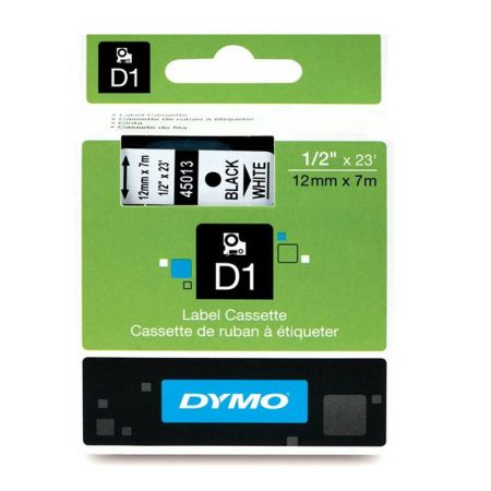 Fita para rotulador branca com escrita preta 12mm - 45013 - Dymo