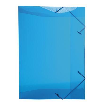 Pasta com aba elástico 1/2 ofício - transparente azul - 0252.C - Dello