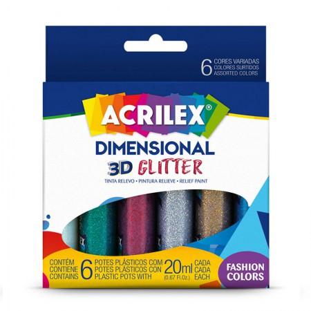 Tinta dimensional relevo 3D glitter 6 cores 20ml - Acrilex