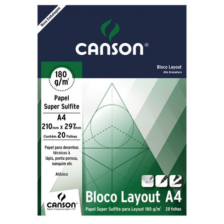 Bloco layout liso A4 180g - com 20 folhas - Canson