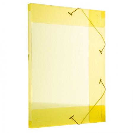 Pasta com aba elástico transparente ofício 20mm - amarela - 255.A - Dello