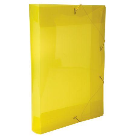 Pasta com aba elástico ofício lombo 40mm - transparente amarela - 0257.A - Dello
