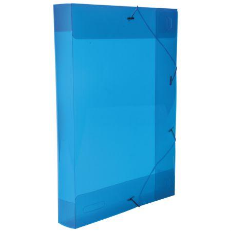Pasta com aba elástico ofício lombo 40mm - transparente azul - 0257.C - Dello