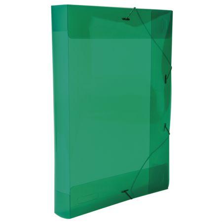 Pasta com aba elástico ofício lombo 40mm - transparente verde - 0257.T - Dello