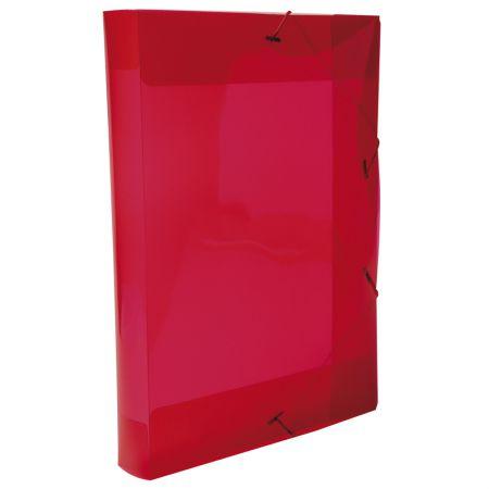 Pasta com aba elástico ofício lombo 40mm - transparente vermelha - 0257.U - Dello