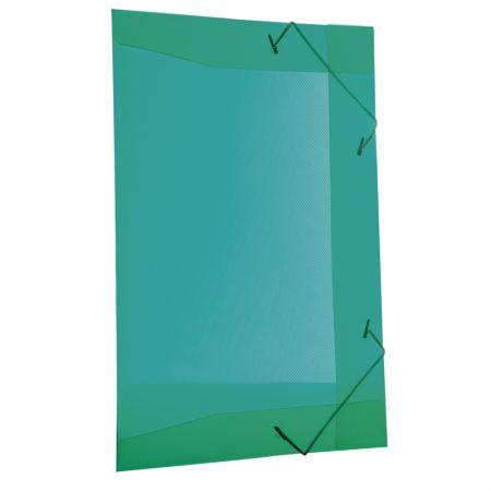 Pasta com aba elástico transparente ofício - verde - 254.T - Dello
