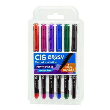 Caneta pincel Brush Aquarelável - com 6 cores básicas - Cis