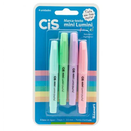 Pincel marca texto Mini Lumini pastel 4 cores Cis