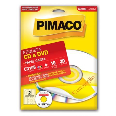 Etiqueta inkjet/laser CDPPLY CD10B - com 10 folhas - Pimaco