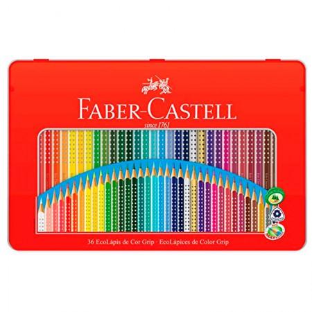 Lápis de cor Colour Grip 36 cores - lata grip - 121036LT - Faber-Castell