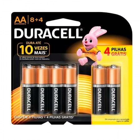 Pilha alcalina pequena AA leve 12 pague 8 - Duracell