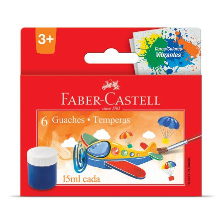 Tinta guache 6 cores 15ml - HT161106 - Faber-Castell