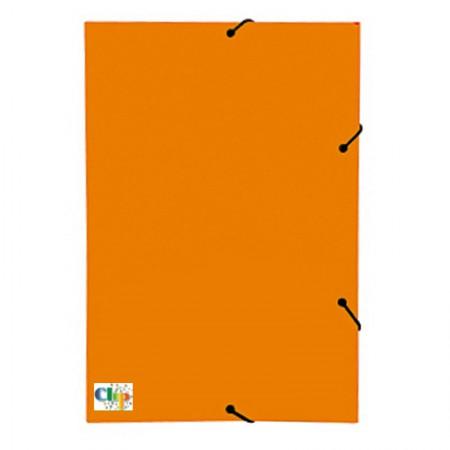 Pasta com aba elástico ofício - Duplex - laranja - ClipColor