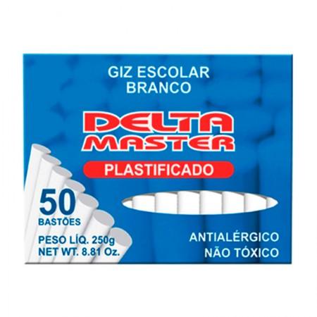 Giz escolar antialérgico plastificado branco com 50 unidades - Delta