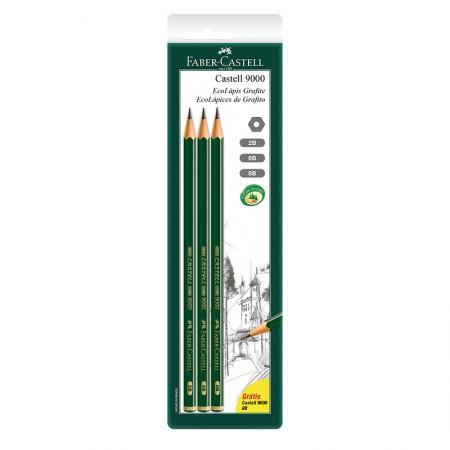 Lápis preto - SM/90008B - com 3 unidades - Faber-Castell