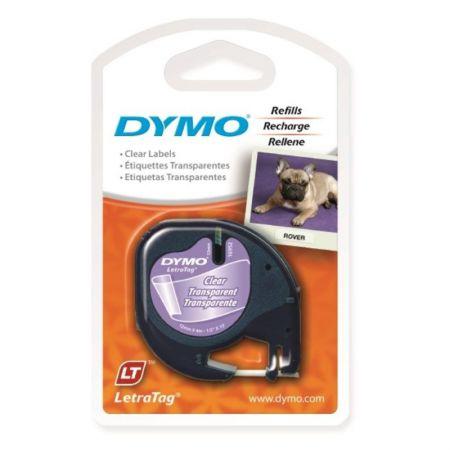 Fita para rotulador letratag transparente com escrita preta 12mm - 16952 - Dymo