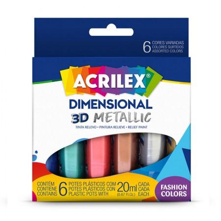 Tinta dimensional relevo 3D metálica 6 cores 20ml - Acrilex