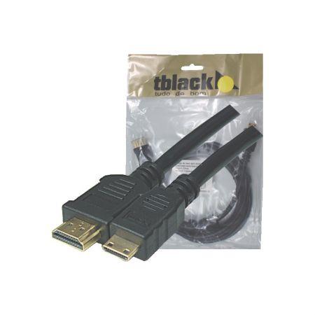 Cabo mini HDMI 1.4 áudio e vídeo 2 metros 90319/70299 - TBlack