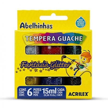 Tinta guache com glitter 6 cores 15ml - 02001 - Acrilex