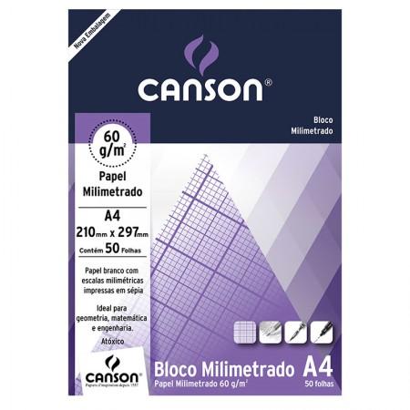 Bloco milimetrado A4 60g - com 50 folhas - Canson
