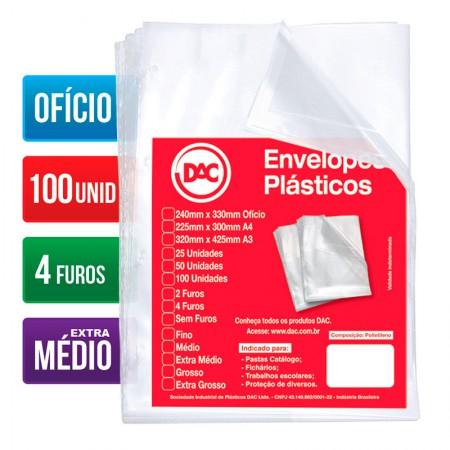 Envelope plástico ofício 0.12 - 4 furos - 5178 - pacote com 100 unidades - Dac