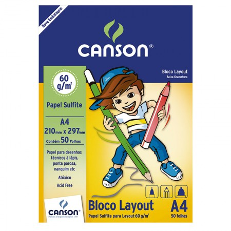 Bloco layout liso A4 60g - com 50 folhas - Canson