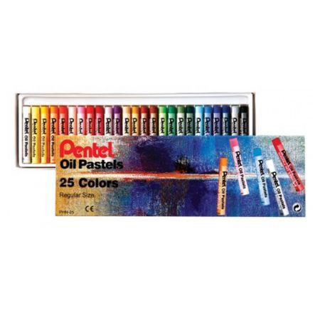 Giz pastel oleoso PHN-25 - com 25 cores - Pentel