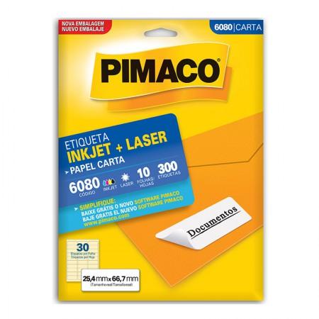Etiqueta inkjet/laser carta 6080 - com 10 folhas - Pimaco