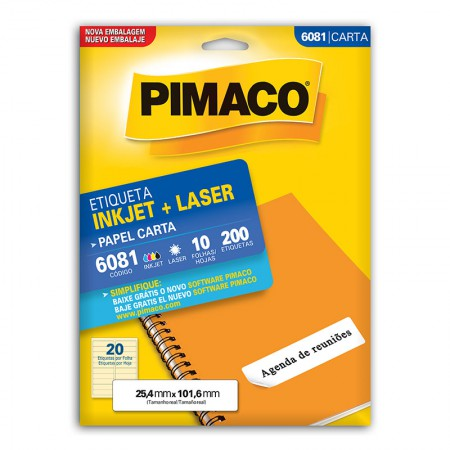 Etiqueta inkjet/laser carta 6081 - com 10 folhas - Pimaco