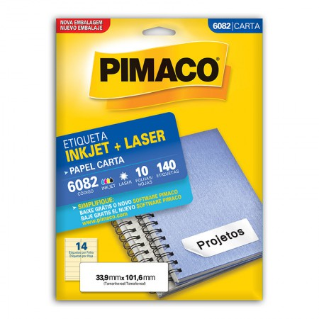 Etiqueta inkjet/laser carta 6082 - com 10 folhas - Pimaco