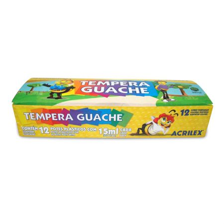 Tinta guache 12 cores 15ml - 02012 - Acrilex