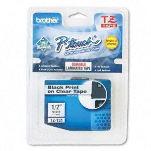 Fita para rotulador 12mm laminada - TZ131 - transparente escrita em preto - Brother