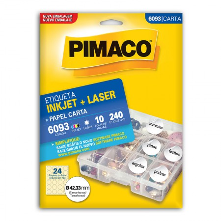 Etiqueta inkjet/laser carta 6093 - com 10 folhas - Pimaco