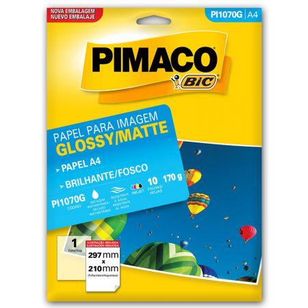 Papel glossy brilhante A4 - PI1070G - com 10 folhas - Pimaco