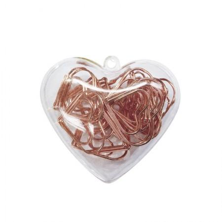 Clips Ouro Rose coração 28mm - com 20 unidades - 276596 - Tilibra