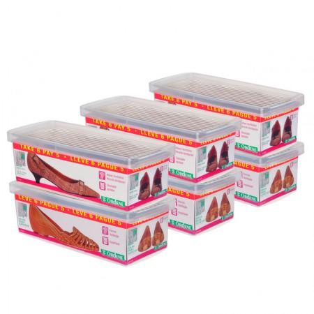 Conjunto caixa organizadora mini sapato - Leve 6 e pague 5 - Cristal - OR60050 - Ordene