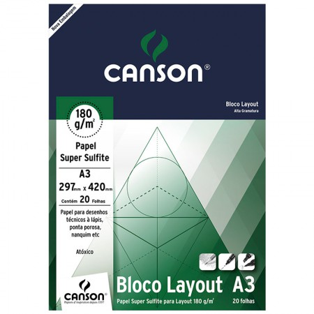 Bloco layout liso A3 180g - com 20 folhas - Canson